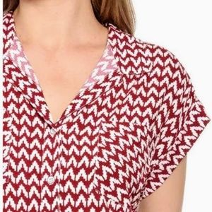 Jachs Girlfriend Red & White Chevron Shirt Size S